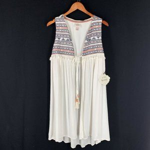 BOHO Top Knox Rose L Ivory Embroidered Tassels NEW